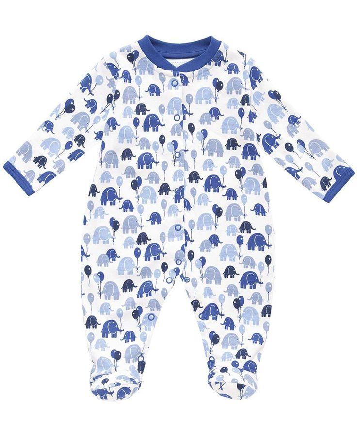 Jojo Maman Bebe ★ Schlafoverall Elefanten hellblau/dunkelblau