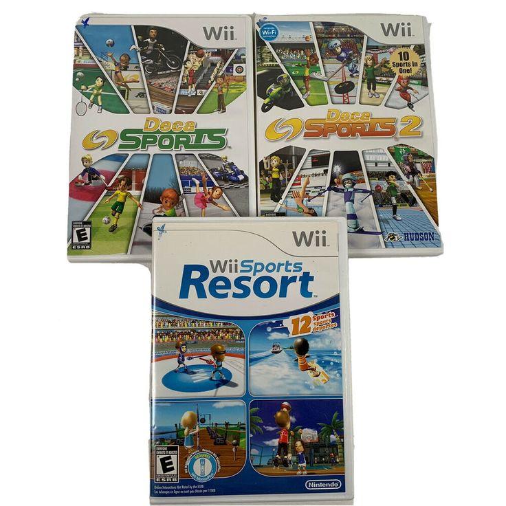 Lot of 3 Nintendo Wii Games Sports Resort Deca Sports 2