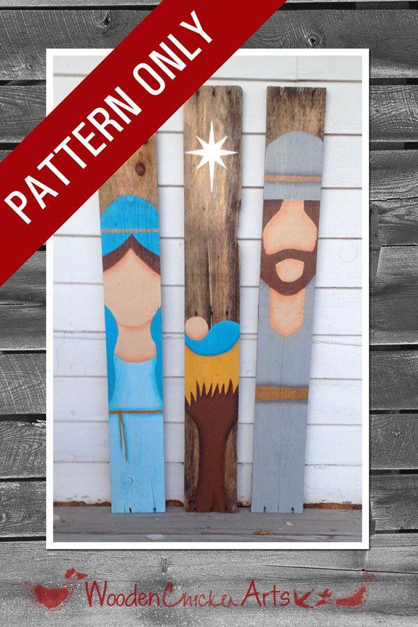 Pallet Wood Christmas Nativity Set - PATTERN by WoodenChickenArts on Etsy https://www.etsy.com/listing/213485363/pallet-wood-christmas-nativity-set