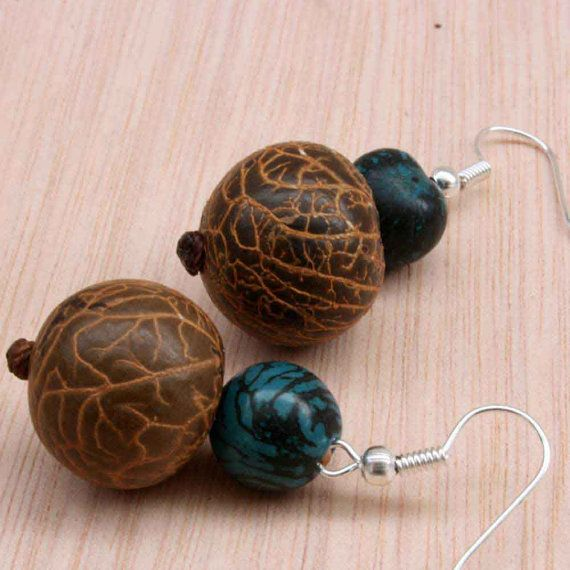 Blue and Brown Earrings  Acai Beads  Fair by ArtisansintheAndes
