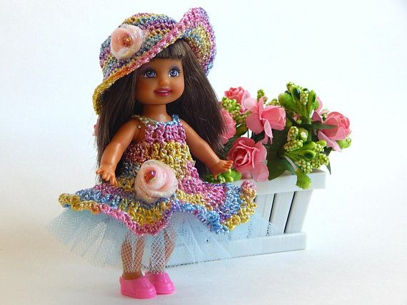 Outfit  for Kelly dolls, Shelley, 10 cm. 4 inch, doll clothes,  doll dresses  and hats