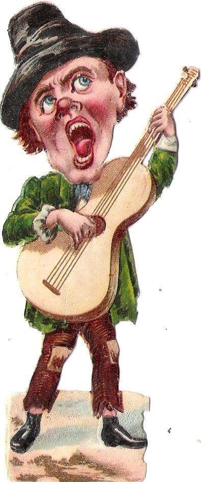 Oblaten Glanzbild scrap die cut chromo Musiker musicien musician Humor comic