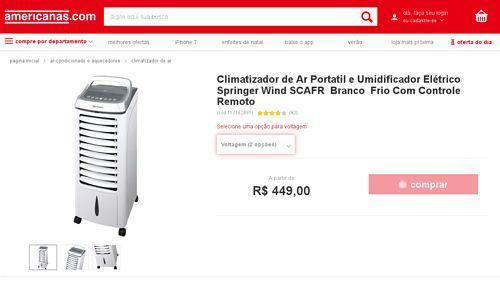[Americanas.com] Climatizador de Ar Portatil e Umidificador Elétrico Springer Wind SCAFR Branco Frio Com Controle Remoto - de R$ 358,46 por…