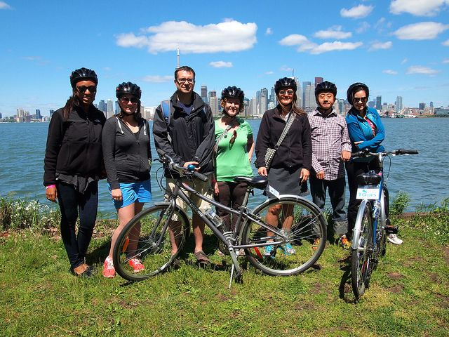 @Amanda Snelson Williams + group from TBEX on a Toronto Island bicycle tour