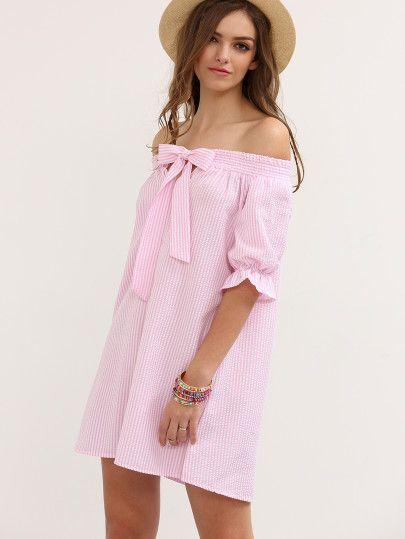 Vestido de tubo a rayas con lazo cuello barco - rosa-Spanish SheIn(Sheinside) Sitio Móvil
