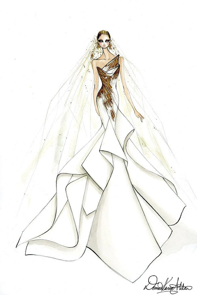 Donna Karan Atelier's sketch of Lady Gaga's wedding dress.
