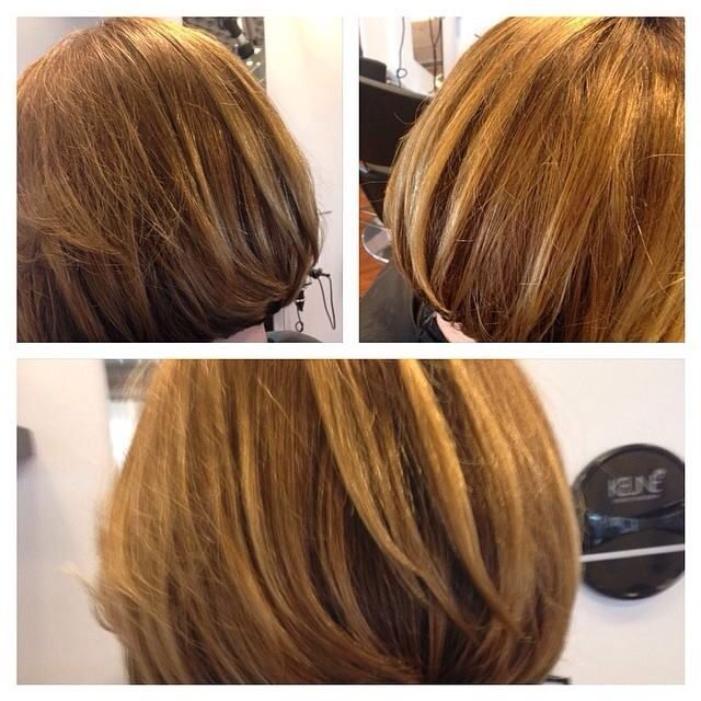 A nice bob with golden tones Hair by Frank