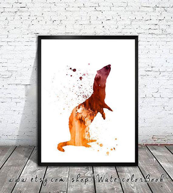 Ferret 2 Watercolor Art Print, Ferret art, Ferret Illustration, animal…