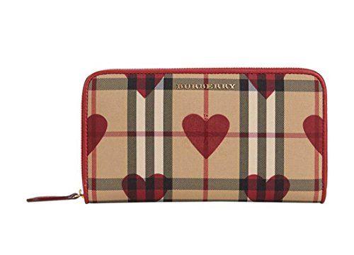 [バーバリー] Burberry Elmore Horseferry Check 小銭入れ And Hearts RED Zip-Around Wallet レディース長財布 LUXYPOP