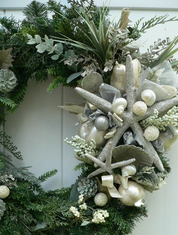 Christmas Beachy Wreath Glittery Silver by BeachyWreaths on Etsy
