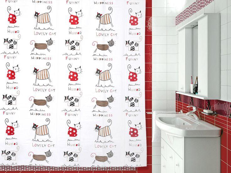 VERRAN Funny cats - занавеска для ванной комнаты из пластика 180х180 см. Цена 350р. Посмотреть на сайте: http://likemyhome.ru/catalog/shtorki-karnizy-kolca/00005637 #likemyhome #showercurtain #bathroomdecor #interiorstyle #verran #funnycats