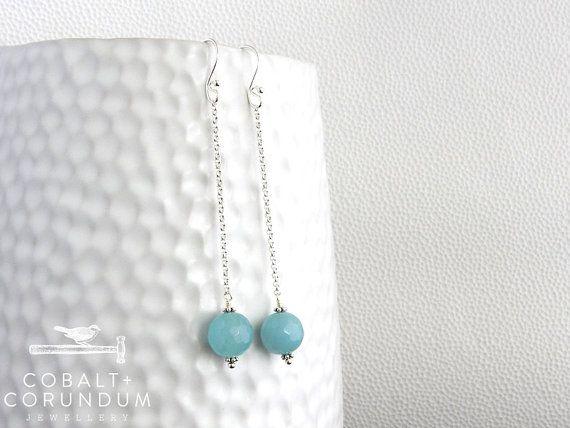 Hangende oorbellen met aqua chalcedoon | 12mm groen blauw chalcedoon rond met facet