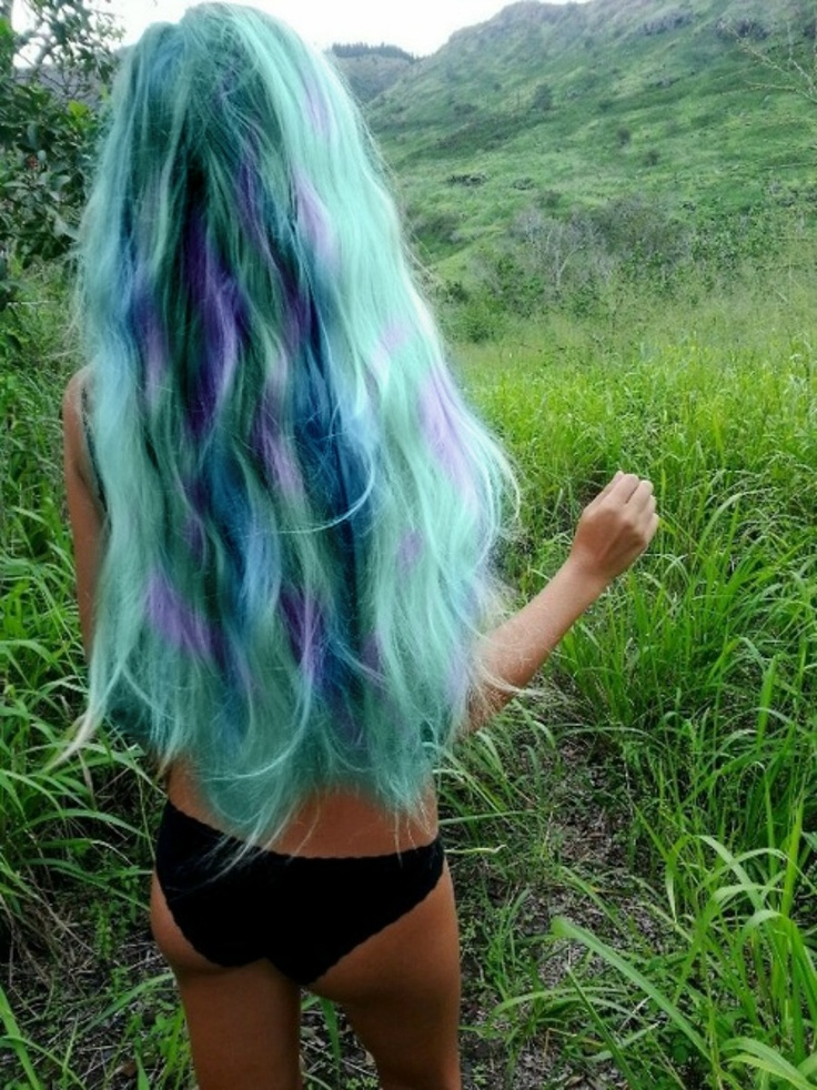 Hair Color | Vibrant Purple and Aqua Look #pmtsescanaba #paul #mitchell #colorful #blue #wavy #trendy #hairstyles #longhair