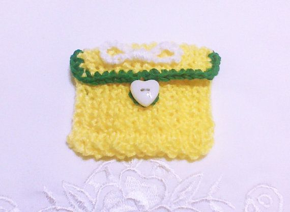Yellow knit coin pouch Change purse Small knit by HandmadeTrend, $9.00