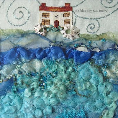 'The Blue Sky Was Merry'... Carolyn Saxby mixed media textile art =)