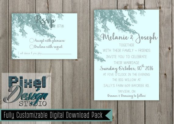 Willow Tree 5 x 7 Wedding Invitation  RSVP by PixelDesignStudio