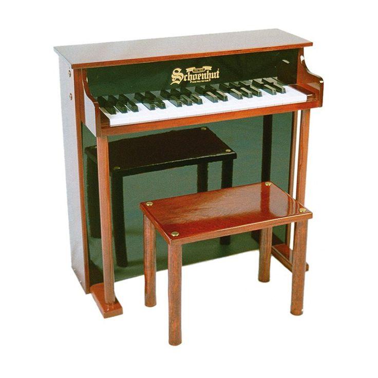 Schoenhut 37 Key Mahogany Traditional Deluxe Spinet Piano - 6637MB