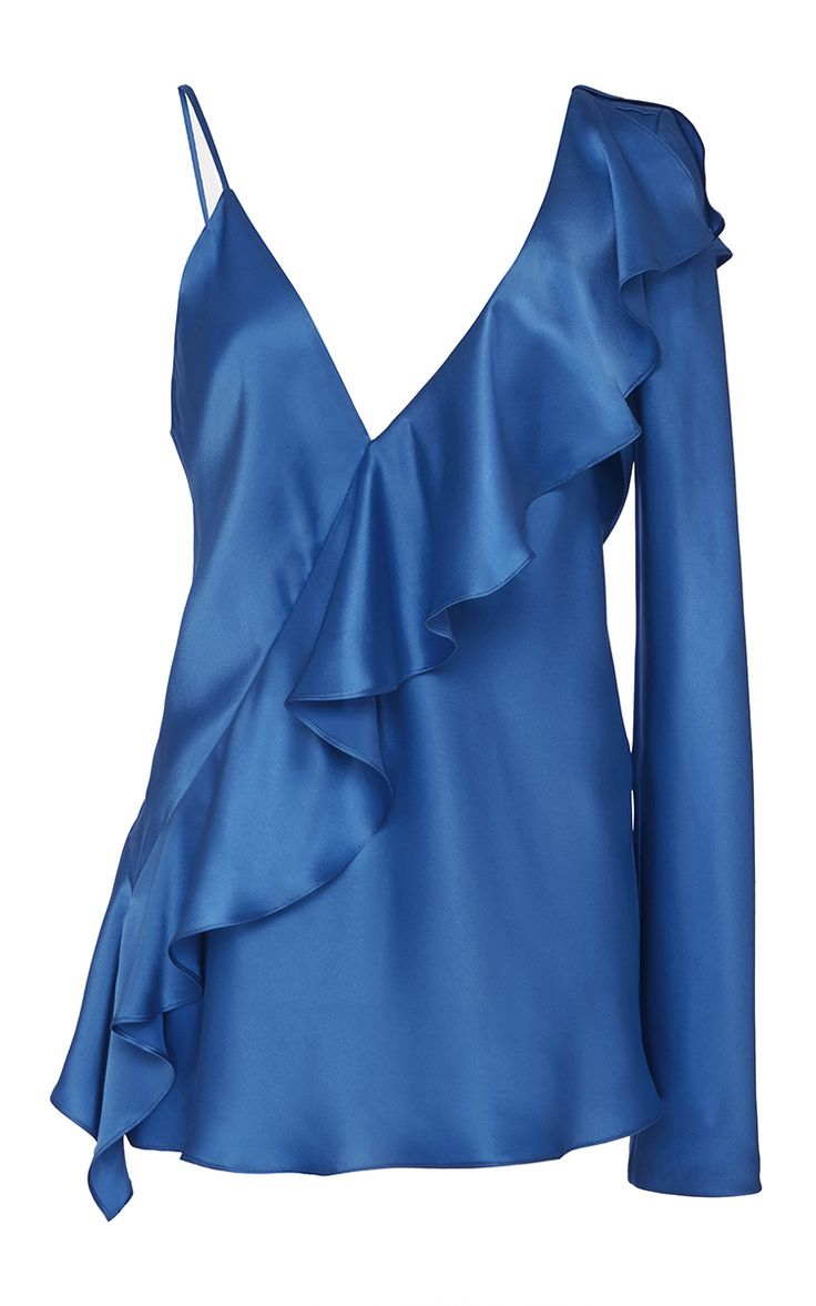 Asymmetric Sleeve Ruffle Blouse by DIANE VON FURSTENBERG for Preorder on Moda Operandi