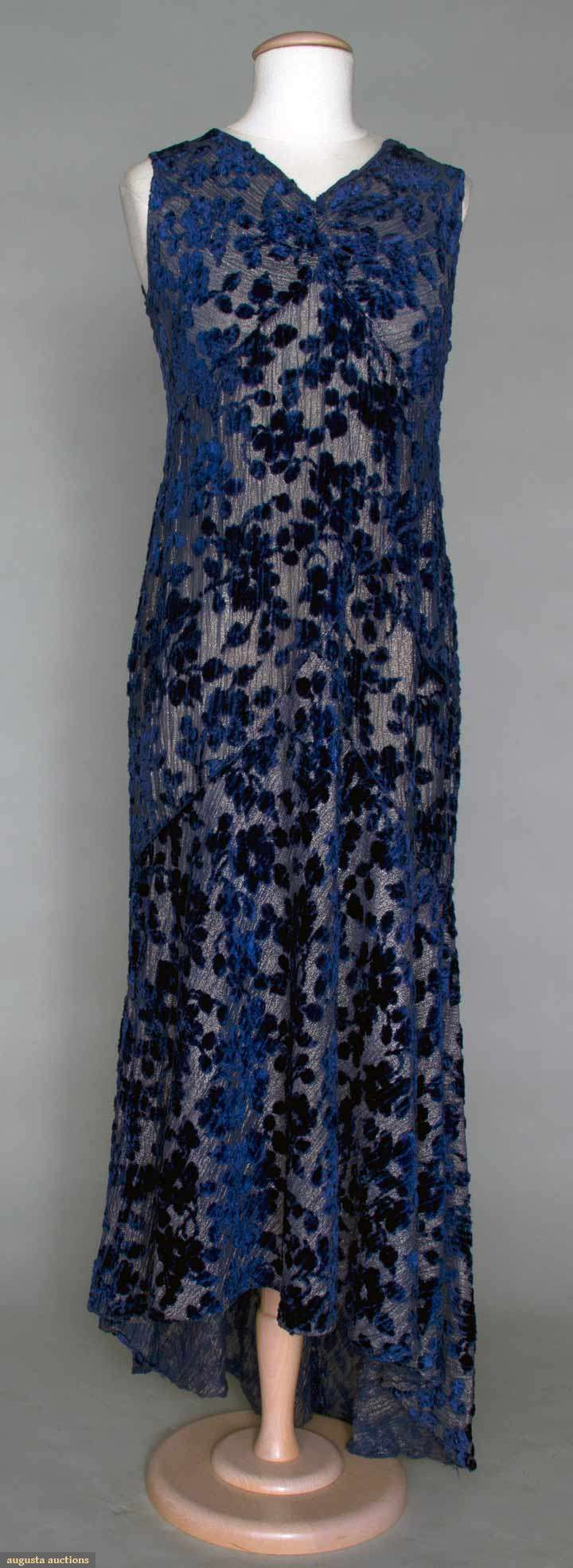 1930s LAME & CUT VELVET EVENING GOWN, Deep blue velvet florals cut to gold lame, trained back, interesting piecing at hips