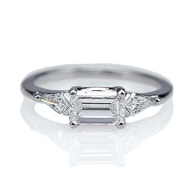Replica Art Deco Engagement Ring - east/west set emerald cut diamond
