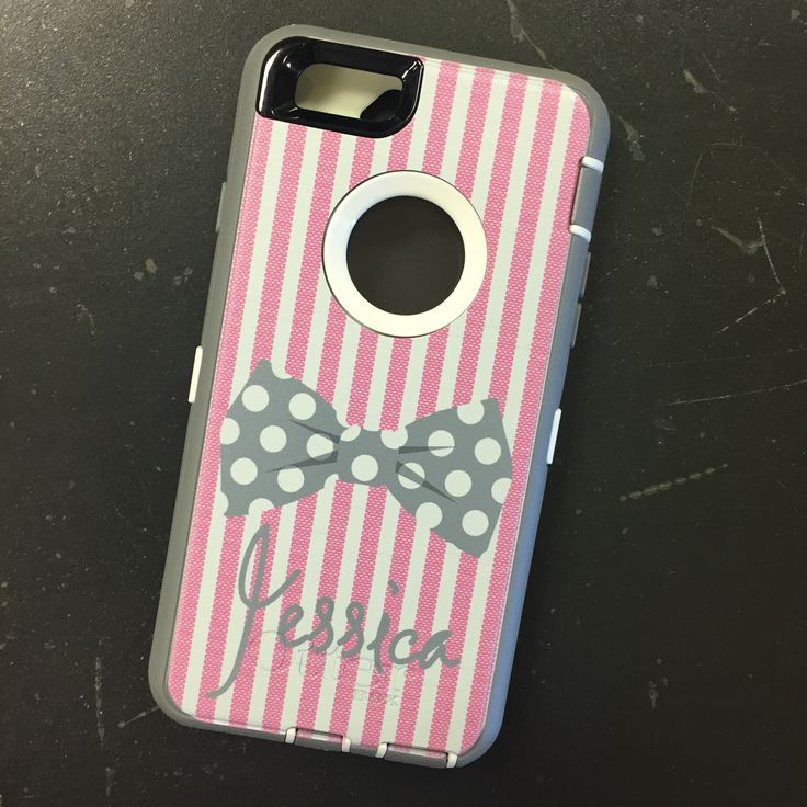 Seersucker and Bow Tie Monogrammed iPhone 6 Otterbox Case in Pink and Gray at BoutiqueMe.com. You can design your own case!!!