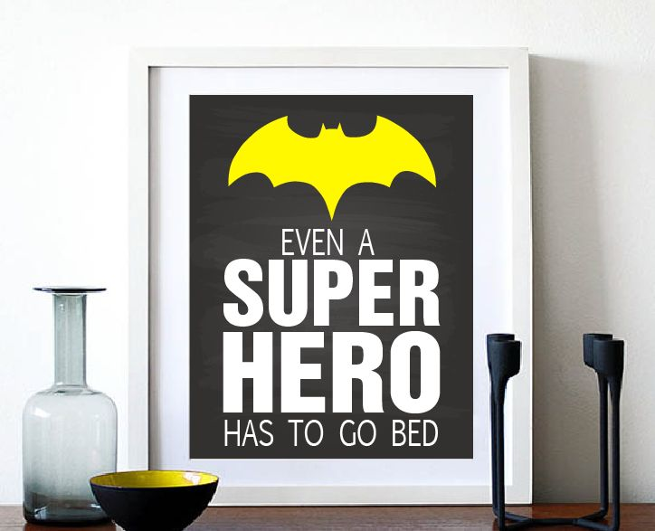 """Super Hero Art Print - Black and White Digital Art - Boys Room Decor"" (BabyArt L5):  Image Size: 8x10in File Format: Illustrator PDF No shipping fees"