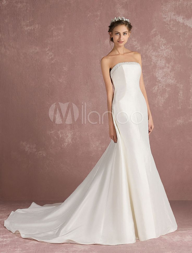 Bustier mariage robe dos nu robe de mariée Ivoire perler une ligne robe de mariée avec traine