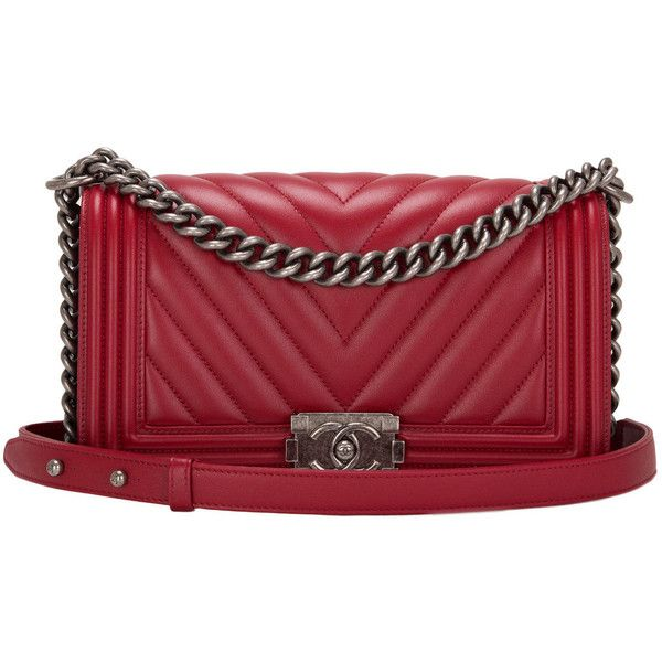 cb21f7614c3ba0 Pre-owned Chanel Red Chevron Medium Boy Bag ($6,300) ❤ liked on Polyvore  featuring bags, handbags, shoulder bags, chanel, chanel b…