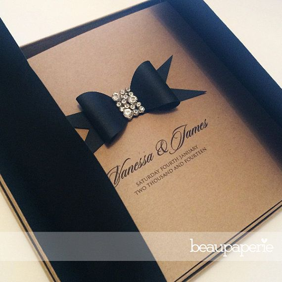 Handmade Luxury Rustic Kraft Paper Bow & Crystal Wedding Invitation