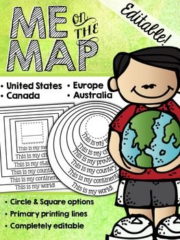 Me on the Map Circle Book {EDITABLE!}