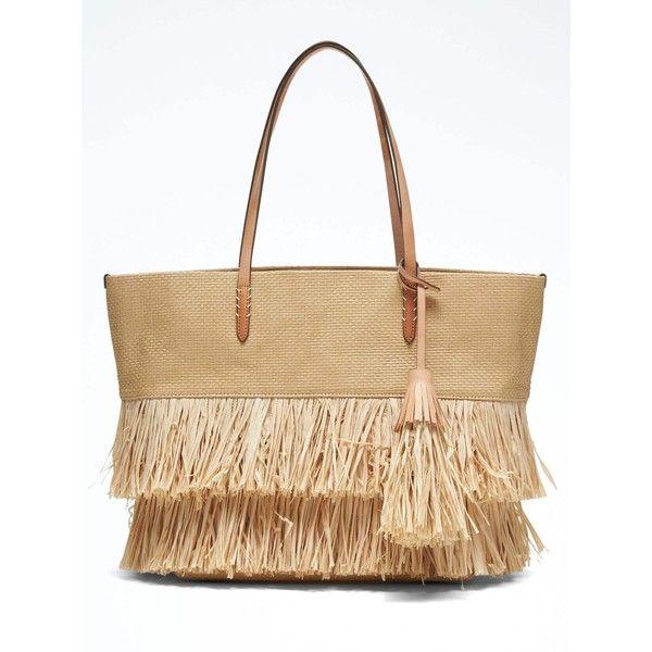 Banana Republic Womens Raffia Tote ($69) ❤ liked on Polyvore featuring bags, handbags, tote bags, fringe handbags, banana republic purses, beige tote, raffia handbags and fringe tote bag