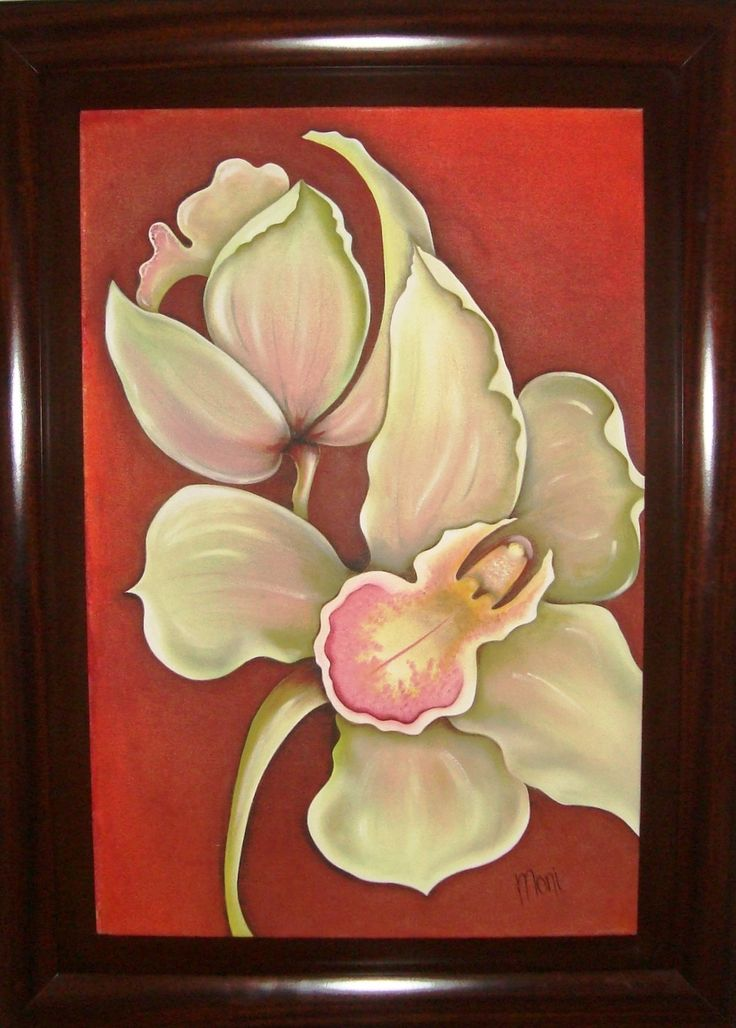Orquidea, oleo sobre lienzo. #Orquidea #Lienzo #Manualidades #Decoracion #Oleo