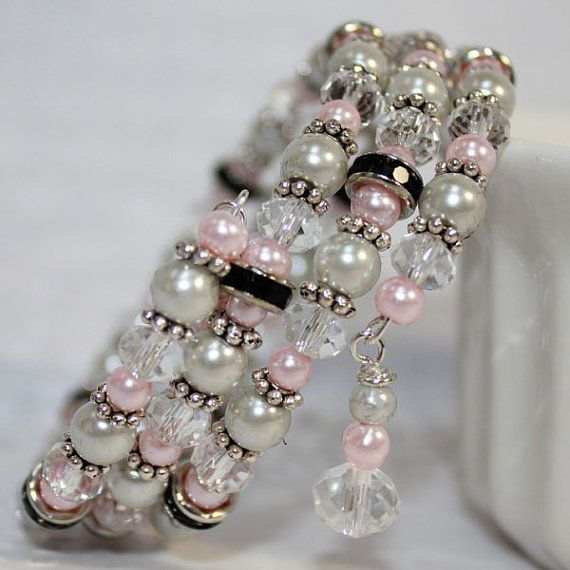 Memory Wire Beaded Bracelet Wrist Wrap Glass Beads and Glass Pearls Pink and Black Womens Jewelry