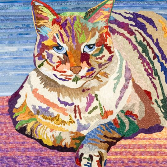 Cat art quilt.  Just goes to show, it is not the color but the value that matters