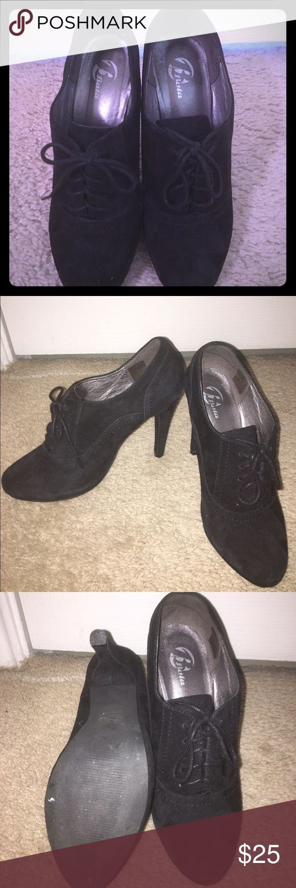Black Italian Suede Oxford Heels! These are real Italian suede oxfords. They are super cute and can worn with many different styles. They are fantastic! Bata Shoes Ankle Boots & Booties