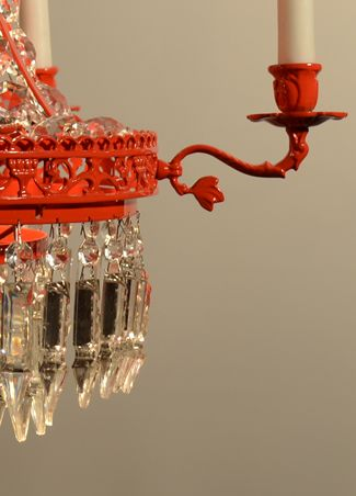 "New ""Candy red"" crystal chandelier."