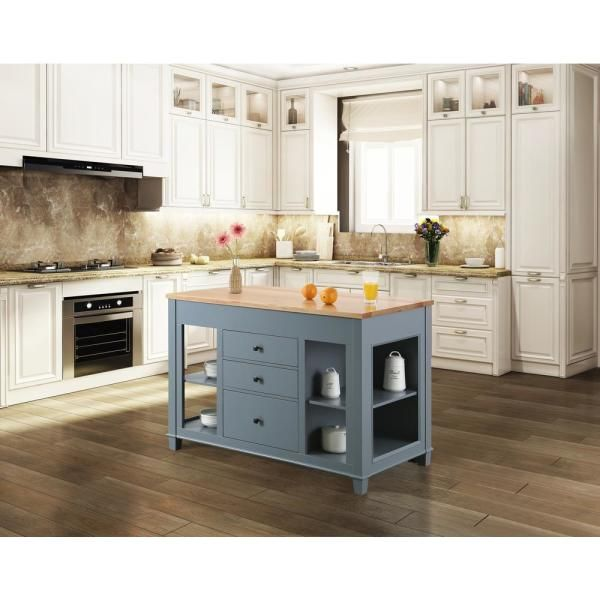 Design Element Medley Gray Kitchen Island With Slide Out Table Kd 01 Gy The Home Depot Grey Kitchen Island White Kitchen Island Solid Wood Kitchens