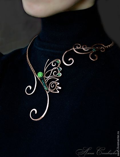 """Necklaces, handmade beads.  Fair Masters - handmade.  Buy Necklace """"Butterfly"""".  Handmade.  Green copper necklace"""