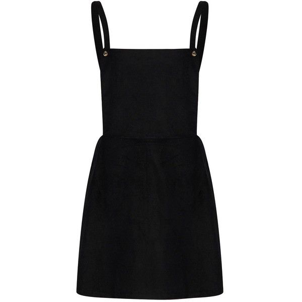 Black Suspender Overall A-Line Mini Dress XL at Amazon Women's... ❤ liked on Polyvore featuring dresses, a line silhouette dress, a-line dresses, a line mini dress, a line shape dress and short a line dresses