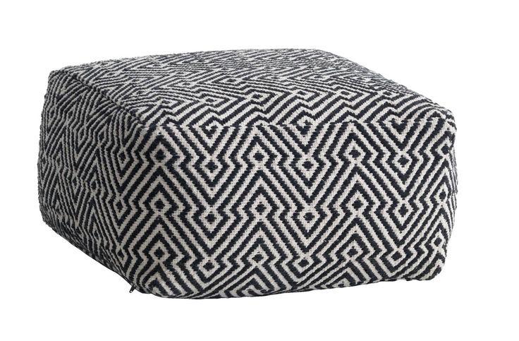 Puff MAJLED mönstrad svart/creme | JYSK