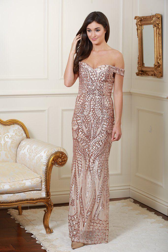 Mamie Embellished Rose Gold Maxi Dress