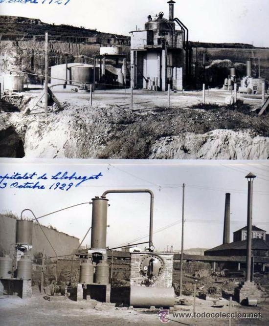 Lote de 4 postales antiguas de Hospitalet de Llobregat. Instalación para la obtención de Benceno. Vives 1929