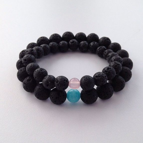 Couples bracelets, matching lava bracelet set with Rose Quartz and Aquamarine his and hers bracelets. *New larger beads*  These two complimentary