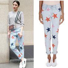 2016 джинсы женские плюс размер прямые брюки Джинсовые женская одежда звезда шаблон джинсы высокое качество брюки(China (Mainland))