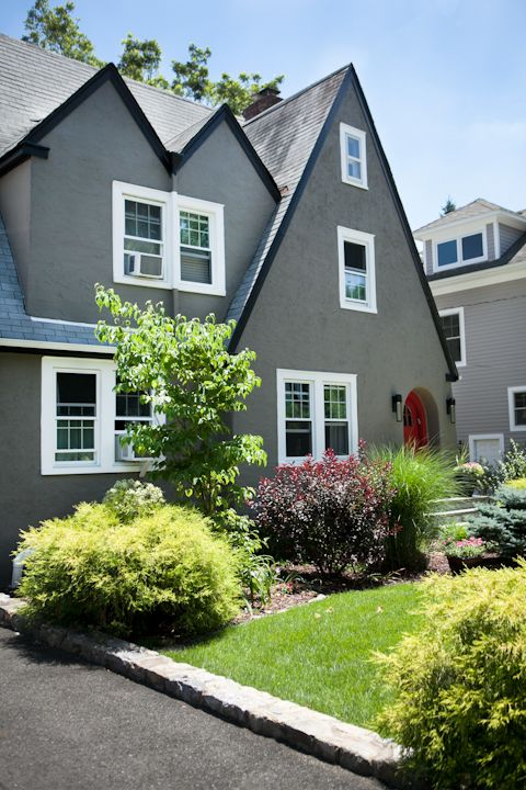 Modern Exterior Colors on Traditional Tudor Cottage, Larchmont, New York.