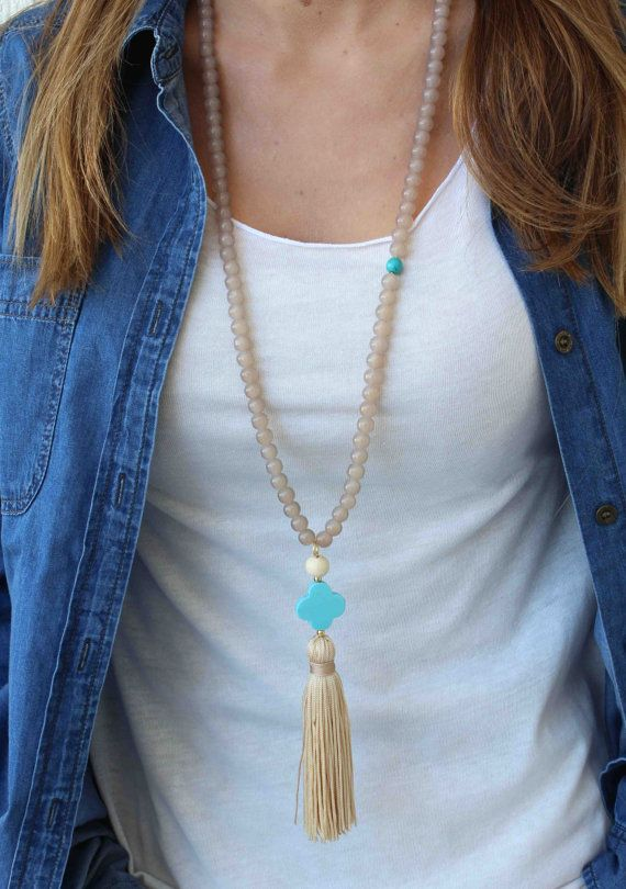 Beige and Turquoise Tassel Necklace. Light brown long beaded necklace. Bohemian…