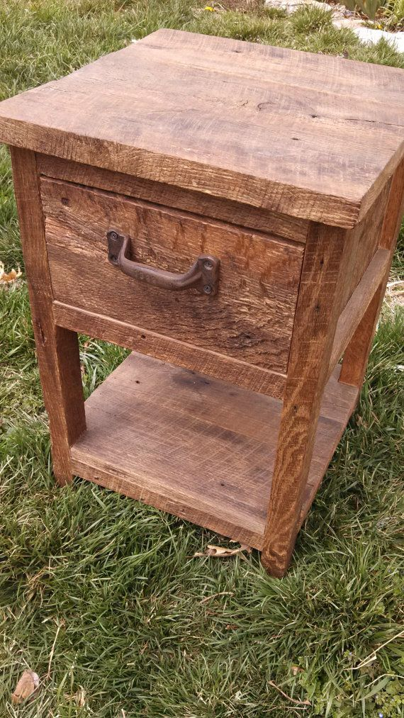 Ready to Ship Rustic Barn Wood End Table, Night Stand, or Side Table With a Drawer and an Open Shelf on Etsy, $145.00