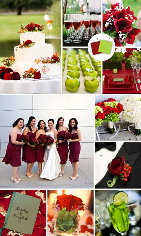Secondary Colour scheme:    Maroon + Apple Green    Good for: Lush outdoor weddings    Tips for pulling it off: Deep red and bright, crisp green complement each other naturally, but be careful to avoid an unintentional Christmas theme. Choose one as the dominant hue, and use the other as an accent.