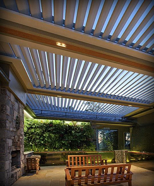 Pergola With Open Close Roof Outdoor Look In 2019