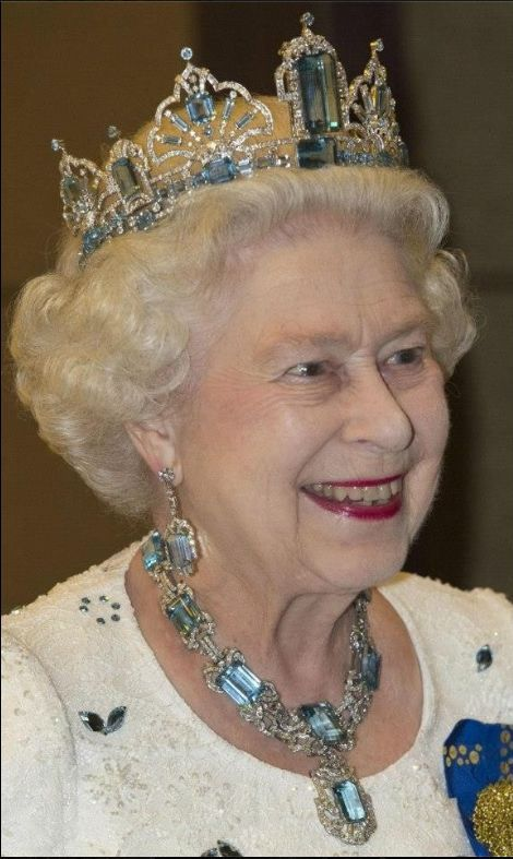 For Queen Elizabeth wearing the large Brazilian Aquamarine tiara follow the link. https://uk.pinterest.com/d7fc7c0c/tiaras-unlimited-aquamarine-tiara-of-elizabeth-ii/